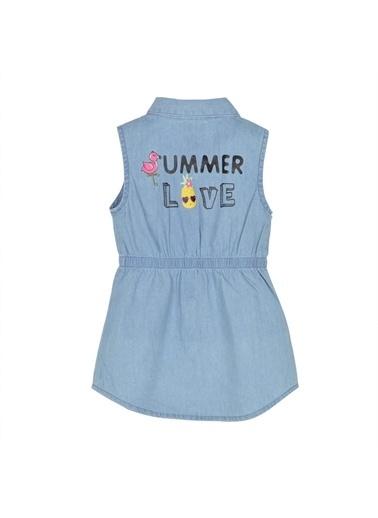 Silversun Kids Kız Bebek Açık Denim Düğmeli Belden Lastikli Kolsuz Kot Elbise - Ek 115902 Mavi